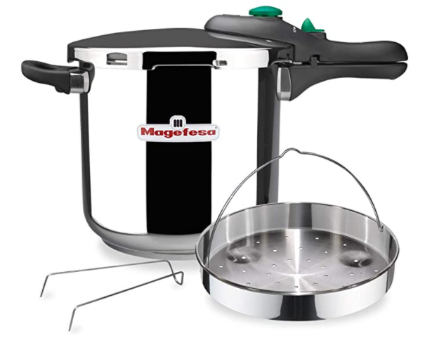 2. MAGEFESA DYNAMIC Olla a presión super rápida de fácil uso, acero inoxidable 18/10, apta para todo tipo de cocinas, incluido inducción. Pack exclusivo Olla+Cestillo. (5 LITROS)