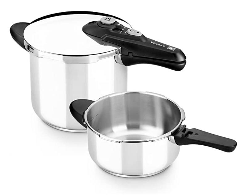 2 - BRA Olla, Metal, Plata, 4 y 7 litros