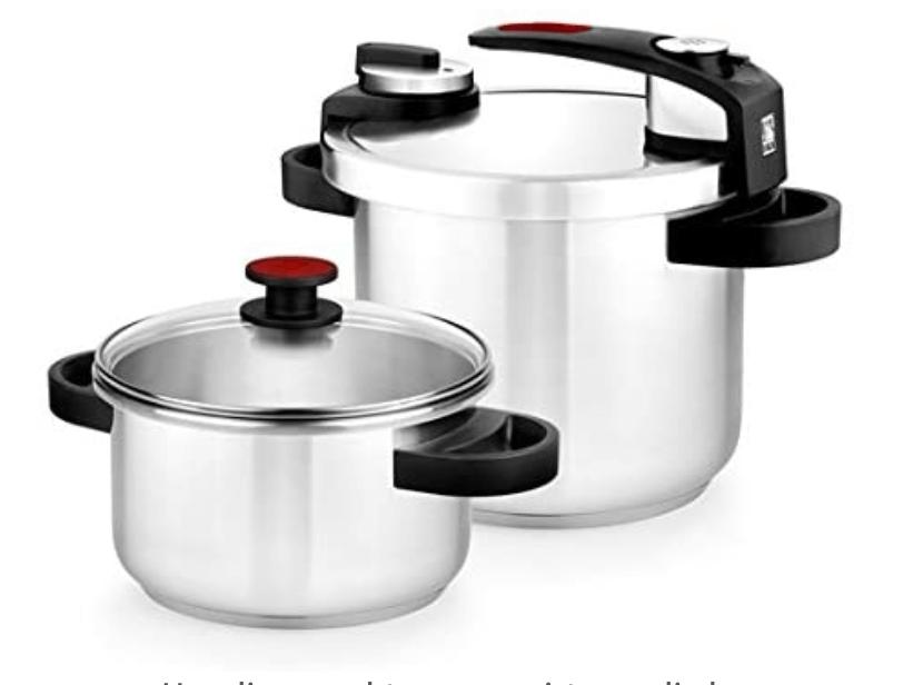 5 - BRA Tekna - Set de ollas a presión rápida, 4 y 7 litros de fácil uso, acero inoxidable 18/10, incluye tapa cristal, apta para todo tipo de cocinas, incluido inducción