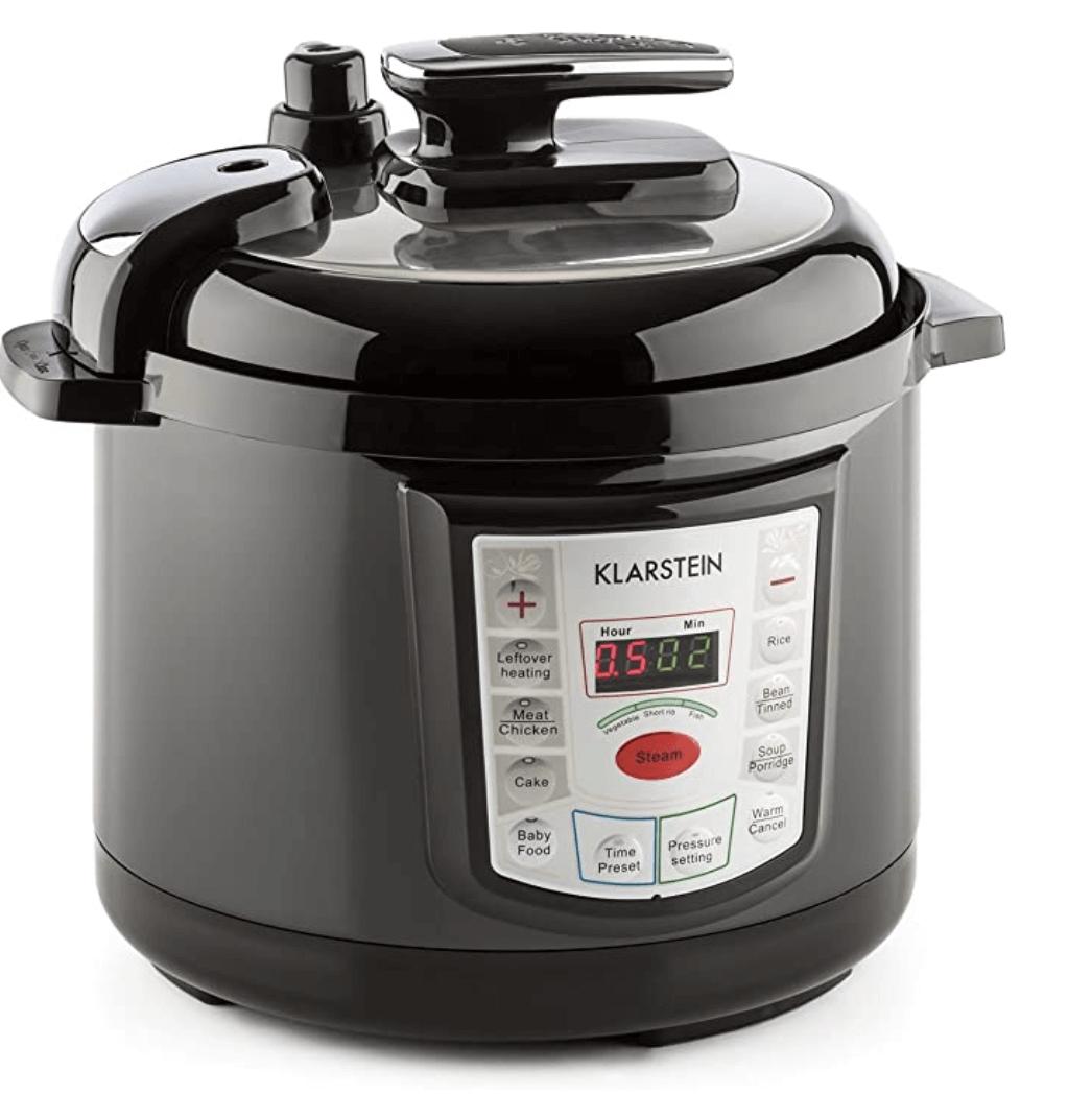 5. KLARSTEIN Fast Flavour Olla a presión multifunción (900W, fácil y rápido manejo, 5 litros de Capacidad, conservación de la Temperatura) - Negro