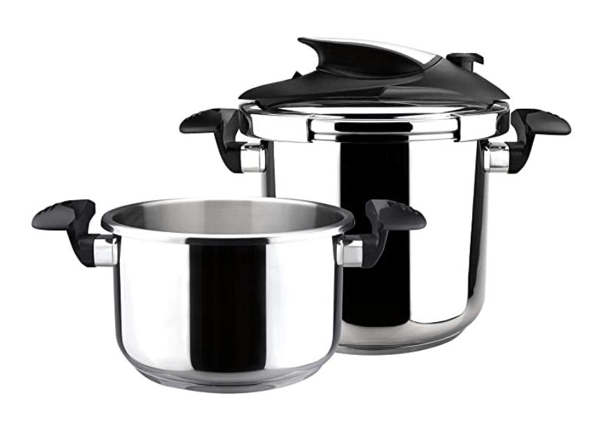 4 - MAGEFESA Nova Olla a presión Super rápida de fácil Uso, Acero Inoxidable 18/10, Apta para Todo Tipo de cocinas, Incluido inducción. (4L+6L)