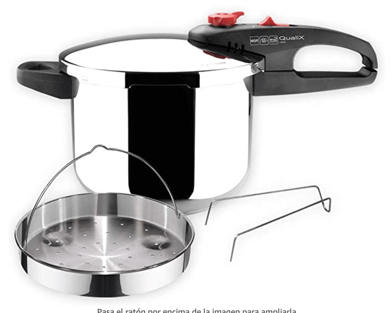 3. MAGEFESA DYNAMIC Olla a presión super rápida de fácil uso, acero inoxidable 18/10, apta para todo tipo de cocinas, incluido inducción. Pack exclusivo Olla+Cestillo. (6 LITROS)