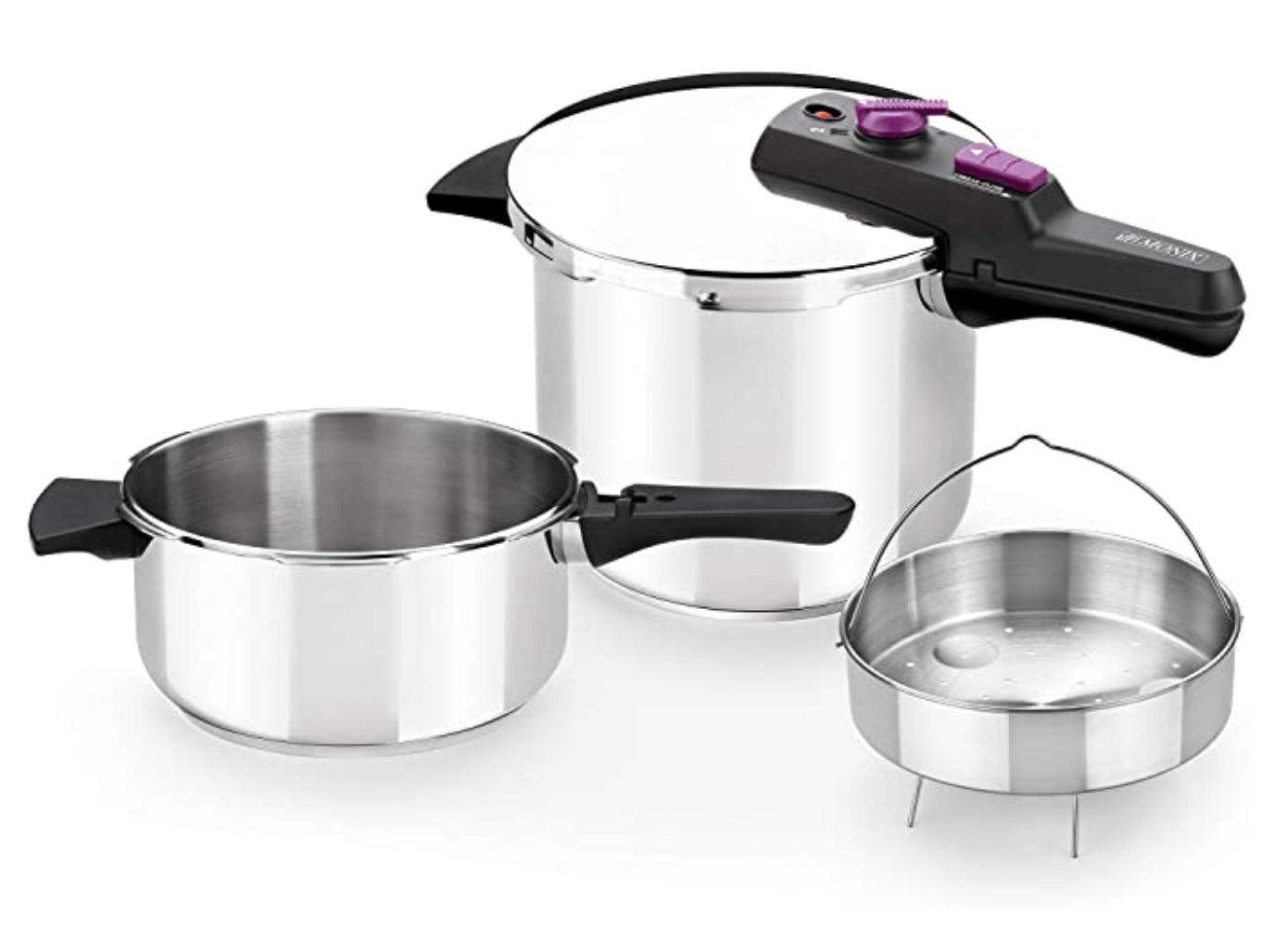 5 - Monix Tempo Duo - Set de ollas a presión 4+7 L incluye cestillo in acero inoxidable 18/10, apta para todo tipo de cocinas incluida inducción